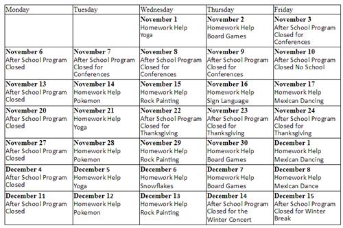 Nov Schedule. After School Program Will Resume ...  After School Program Resume