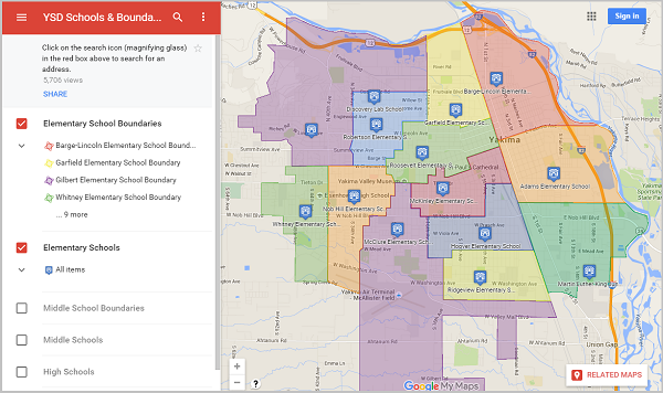 Screenshot of boundary map with elementary schools and boundaries plotted.