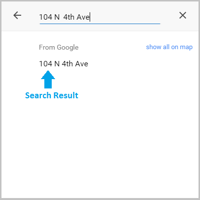Map search result for 104 N 4th Ave
