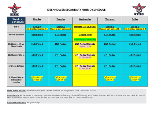 EISENHOWER SECONDARY SCHEDULE