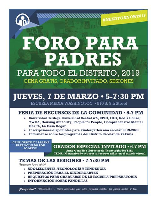 Parent Forum flyer - Spanish