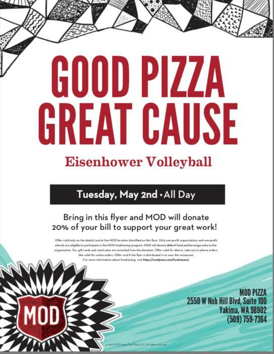 Volleyball fundraiser at MOD Pizza May 2