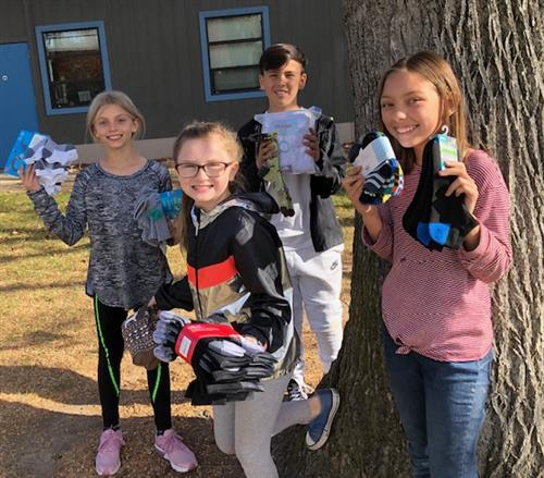 NHE student council sock drive 2019